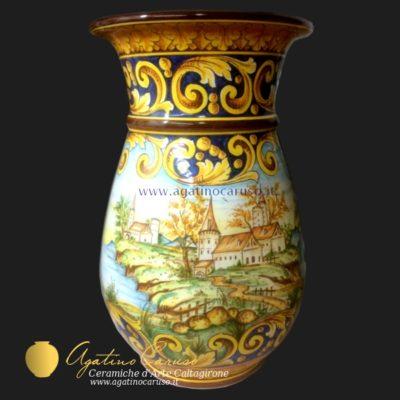 Portaombrelli ceramica di Caltagirone, dipinto con paesaggio a tutto tondo