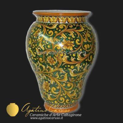 Portaombrelli ceramica di Caltagirone, Dipinto con ornato Caruso fondo verde