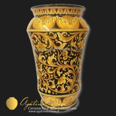 Portaombrelli ceramica di Caltagirone, Dipinto con ornato Caruso fondo nero