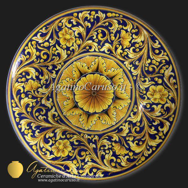 Piatti decorati in ceramica di caltagirone dipinti a mano - Piatti di frutta decorati ...