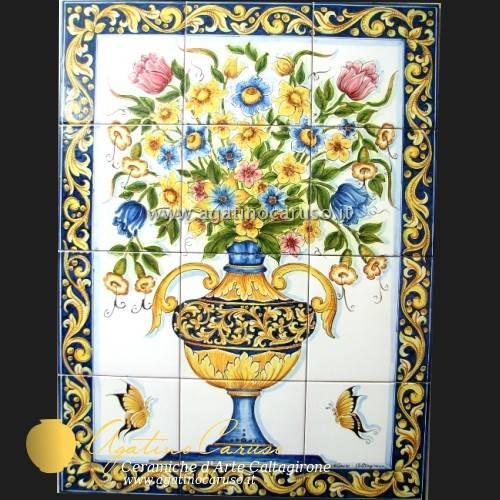 Pannello con fiori z004 ceramiche di caltagirone agatino for Piastrelle cucina caltagirone