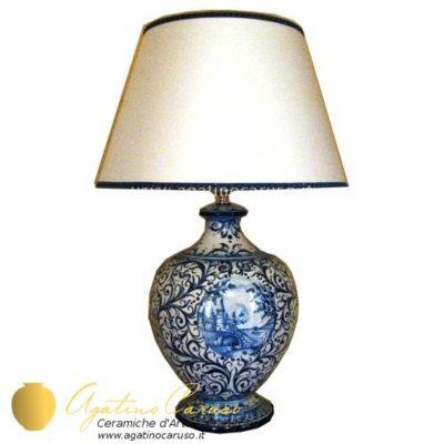 lume in ceramica di Caltagirone blu cobalto