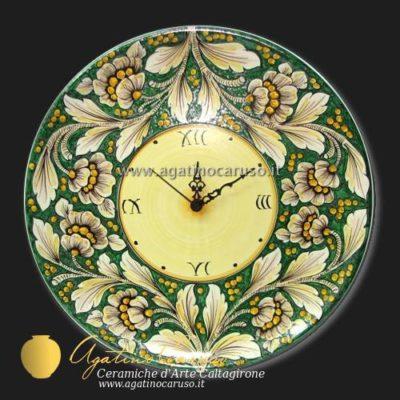 Orologio in ceramica di Caltagirone dipinta a mano