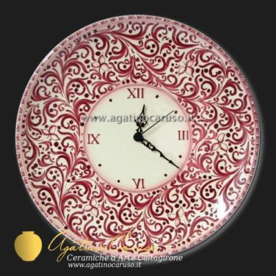 Orologio in ceramica di Caltagirone dipinta a mano, decoro Sarah bordeaux