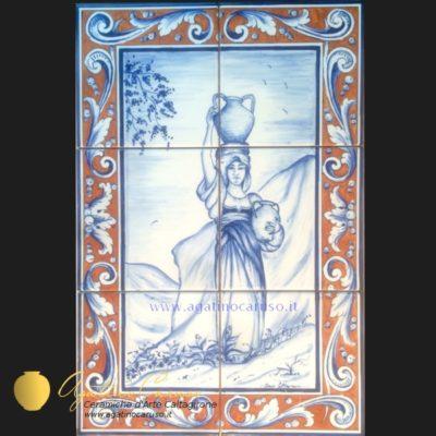 Pannelli ceramica di caltagirone dipinti a mano vaso floreale policromia - Piastrelle siciliane decorate ...