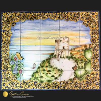 Pannello in ceramica artistica dipinto a mano raffigurante paesaggio mediterraneo
