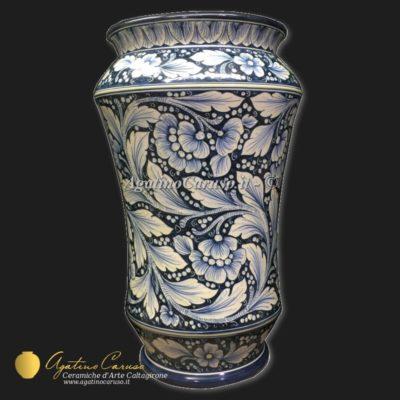 Portaombrelli in ceramica di Caltagirone dipinto a mano decoro Dalia in monocromia blu cobalto
