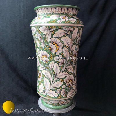 Porta ombrelli in ceramica artistica dipinto a mano con decoro Dalia su fondo verde rame