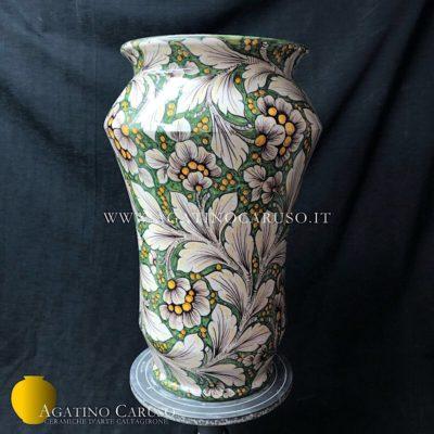 Vaso a portaombrelli in ceramica artistica dipinto a mano con decoro Dalia su fondo verde rame