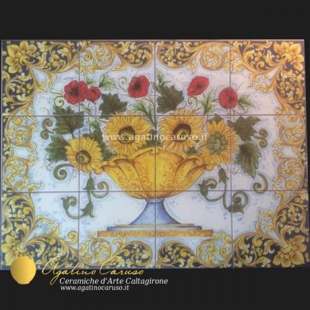 Pannello in ceramica di Caltagirone dipinta a mano. Girasoli e garofani
