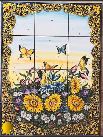 Pannello ornamentale per esterno o interno dipinto a mano con fiori da campo e farfalle