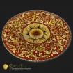 Piatto in maiolica Siciliana delle Ceramiche Artistiche di Agatino Caruso. Dipinto con ornato in giallo ocra e fondo rosso intenso 2