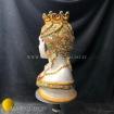 Testa vaso antropomorfa in maiolica Siciliana dipinto a mano