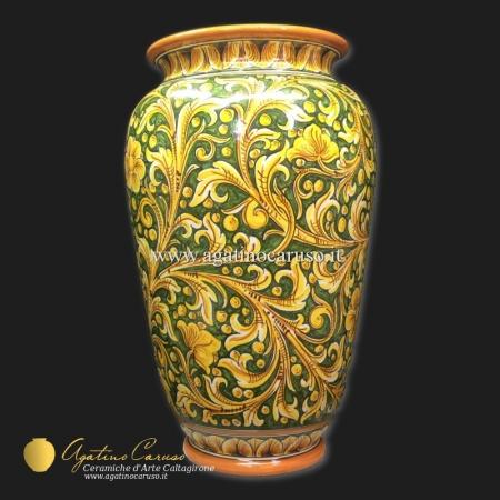 Portaombrelli in ceramica di Caltagirone dipinto a mano con ornato Caruso fondo verde