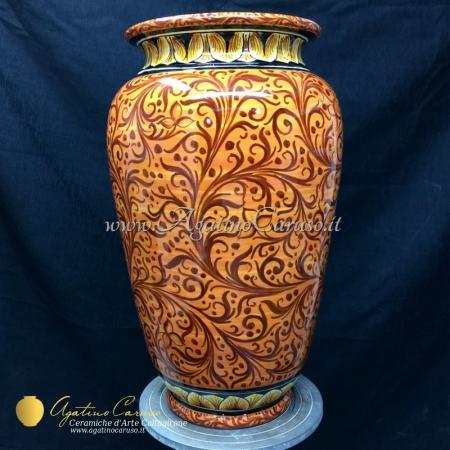 Portaombrelli in ceramica di Caltagirone dipinto a mano, decoro in arancio e bruno