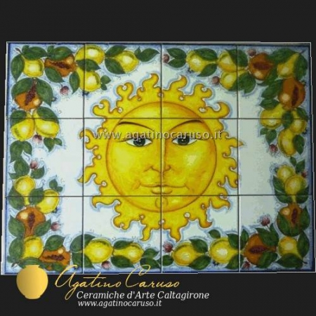 Pannello in ceramica di Caltagirone dipinta a mano. Sole limoni e melograni