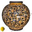 Vaso in maiolica di Caltagirone dipinto a mano con decoro Ornato Caruso fondo nero