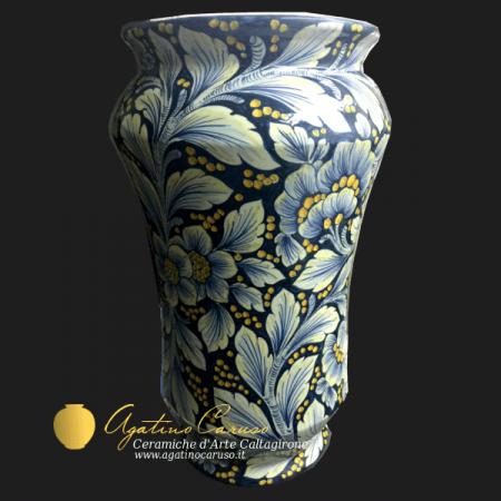 Portaombrelli in ceramica di Caltagirone, decoro Dalia fondo blu cobalto