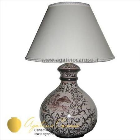 lume in ceramica di Caltagirone in manganese